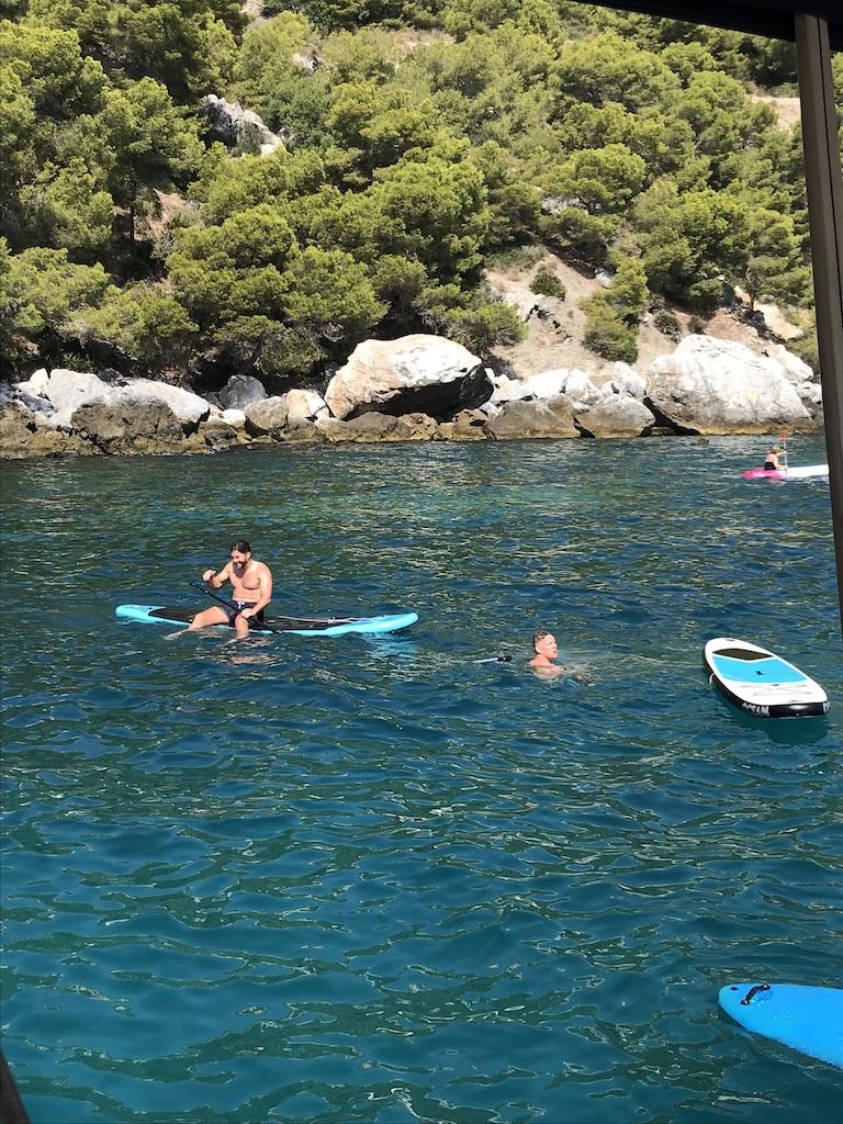 Paddle boarding -James 'splashing around' Andrew  ©️  Janet Rutter