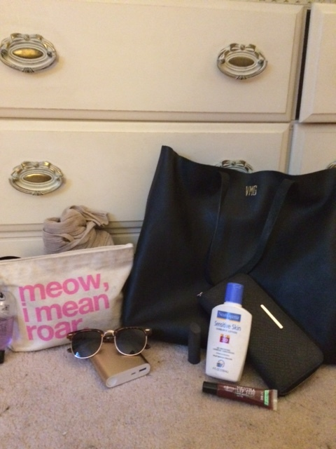 What city girl packs for a day on the island... | (details:  clutch (similar) ,  sunglasses ,  tote ,  lipstick (similar) ,  sunblock (similar) ,  wallet (similar) ,  gloss (similar) )