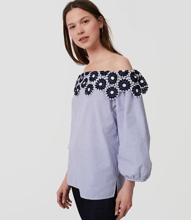Floral Lace Striped Off the Shoulder Blouse , $59