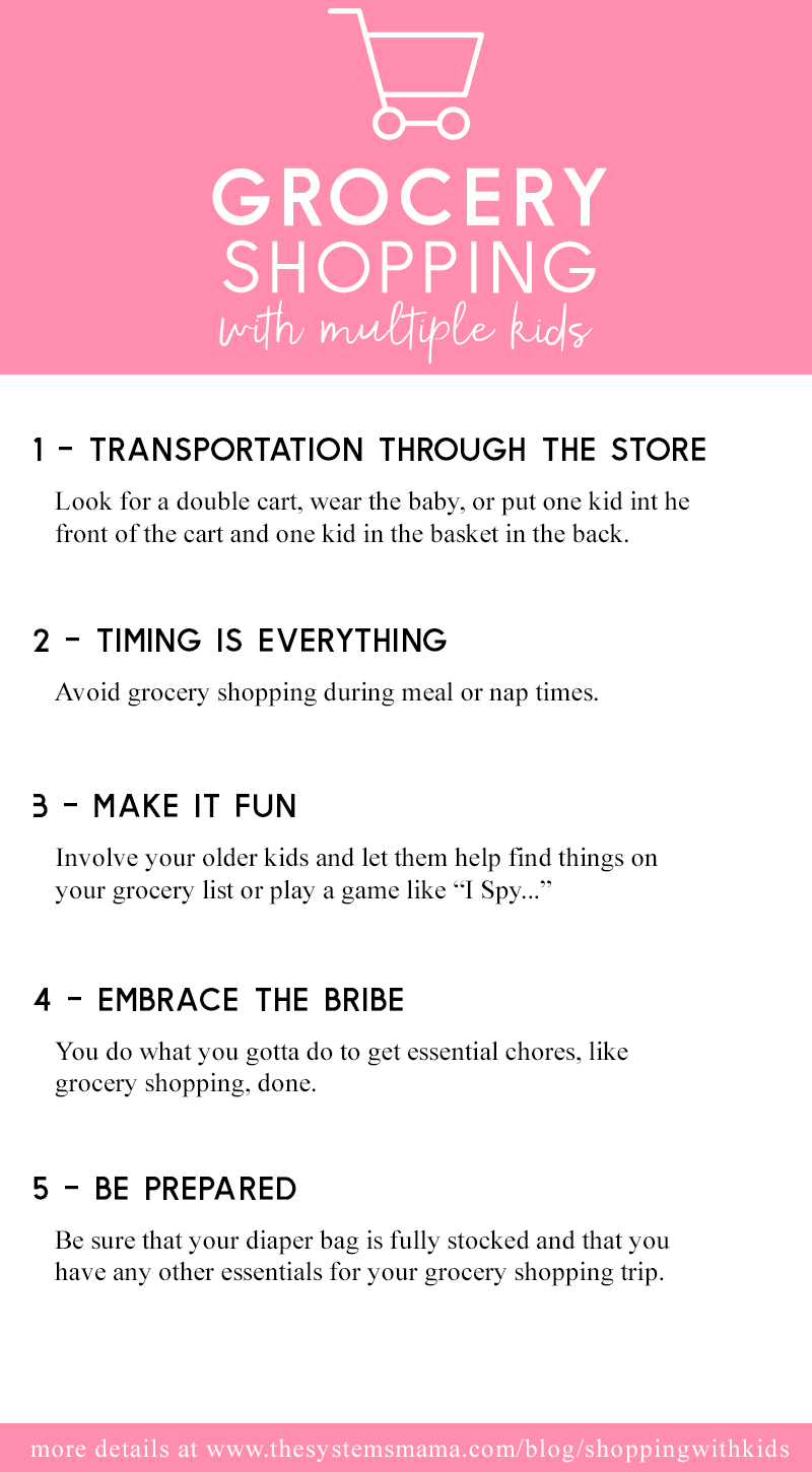 Tips to rock grocery shopping with multiple kids  www.thesystemsmama.com/blog/shoppingwithkids