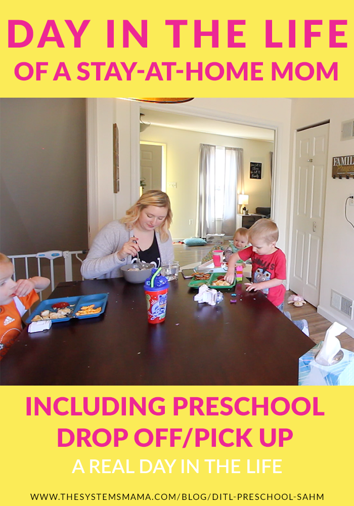 a real look at a day in the life of a stay-at-home mom of 3, including preschool drop off/pick up
