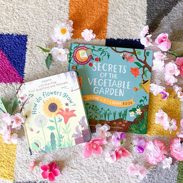 "This week I am going to introduce you to some of the activities from our In The Garden themed #booksatplaysummercamp 🌸🌼 • • Our featured books were ""Secrets of the Vegetable Garden"" and ""Lift-the-Flap How Do Flowers Grow?"" 🌸 check out my highlights for flip through of the books! For even more garden and flower themed books, check out my blog! So many great book options for this theme! What is your favorite garden-themed book?? 📚🌼 #booksatplay"
