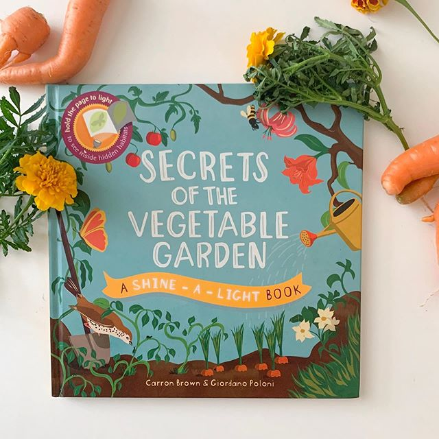 We harvested our garden a bit today  and I thought it was the perfect time to photograph my Secrets of the Vegetable Garden Shine-a-Light boom! Check out my Stories to see today's harvest and something fun we found in the garden! #booksatplay