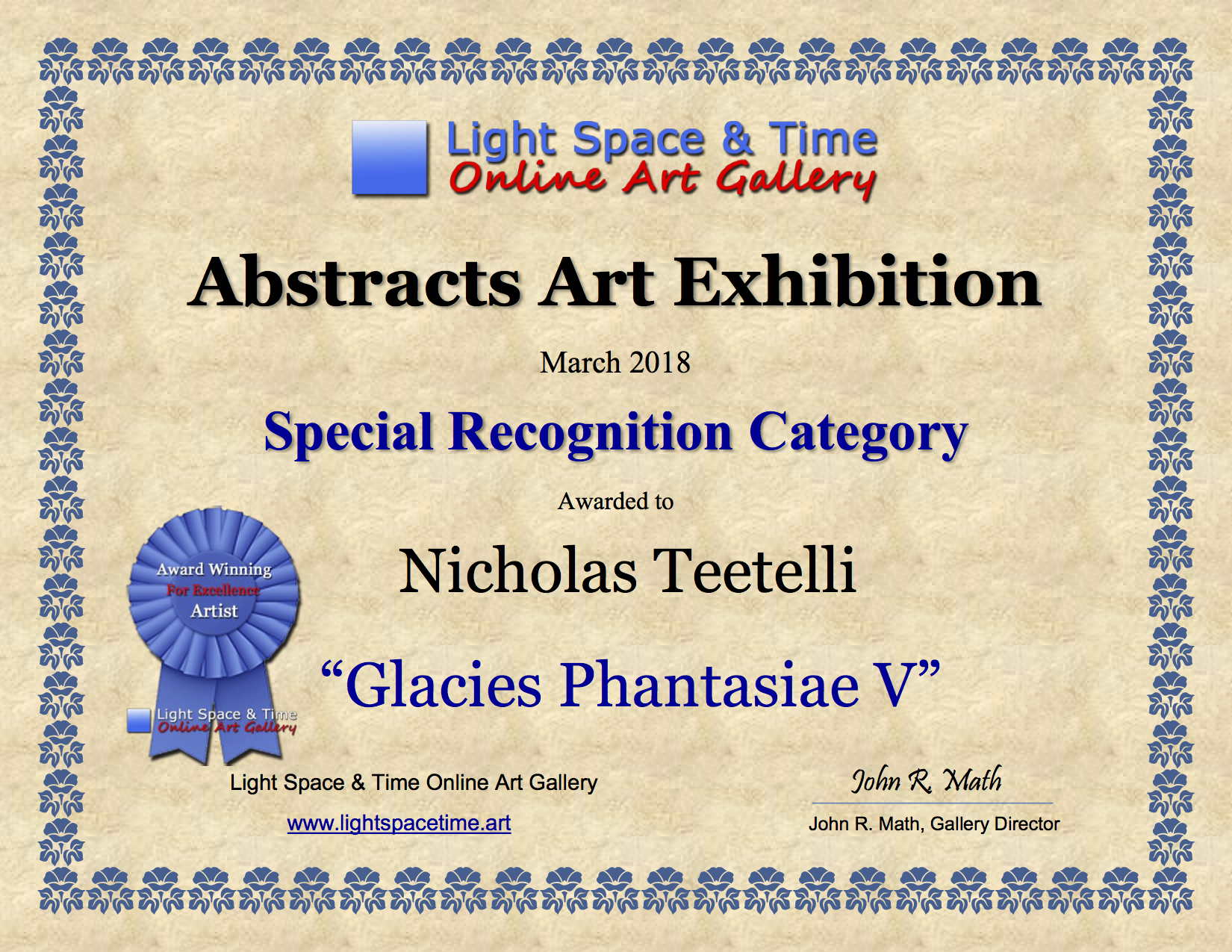 SR - Nicholas Teetelli - ABSTRACTS ART EXHIBITION AWARD CERTIFICATE.png