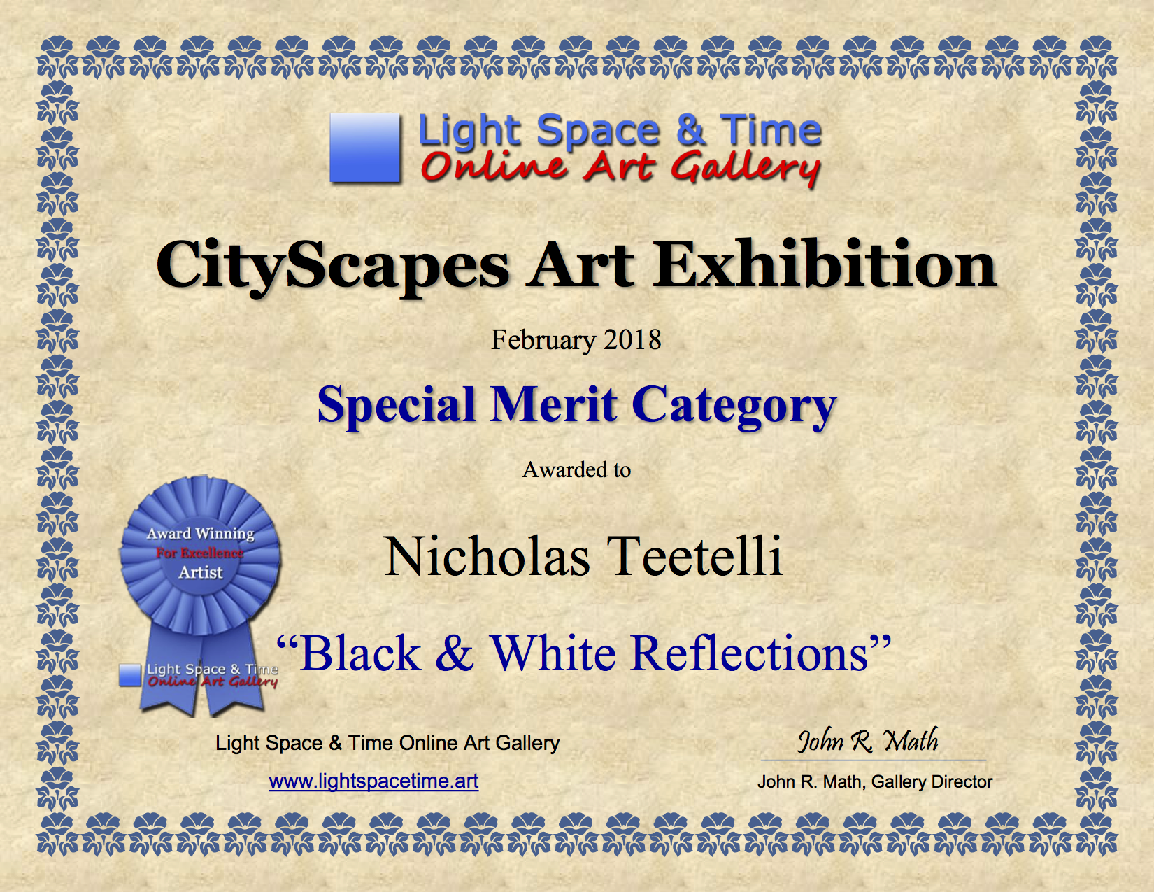 2018-02 LS&T SM - Cityscapes Art Exhibition AWARD B&W Reflections.png