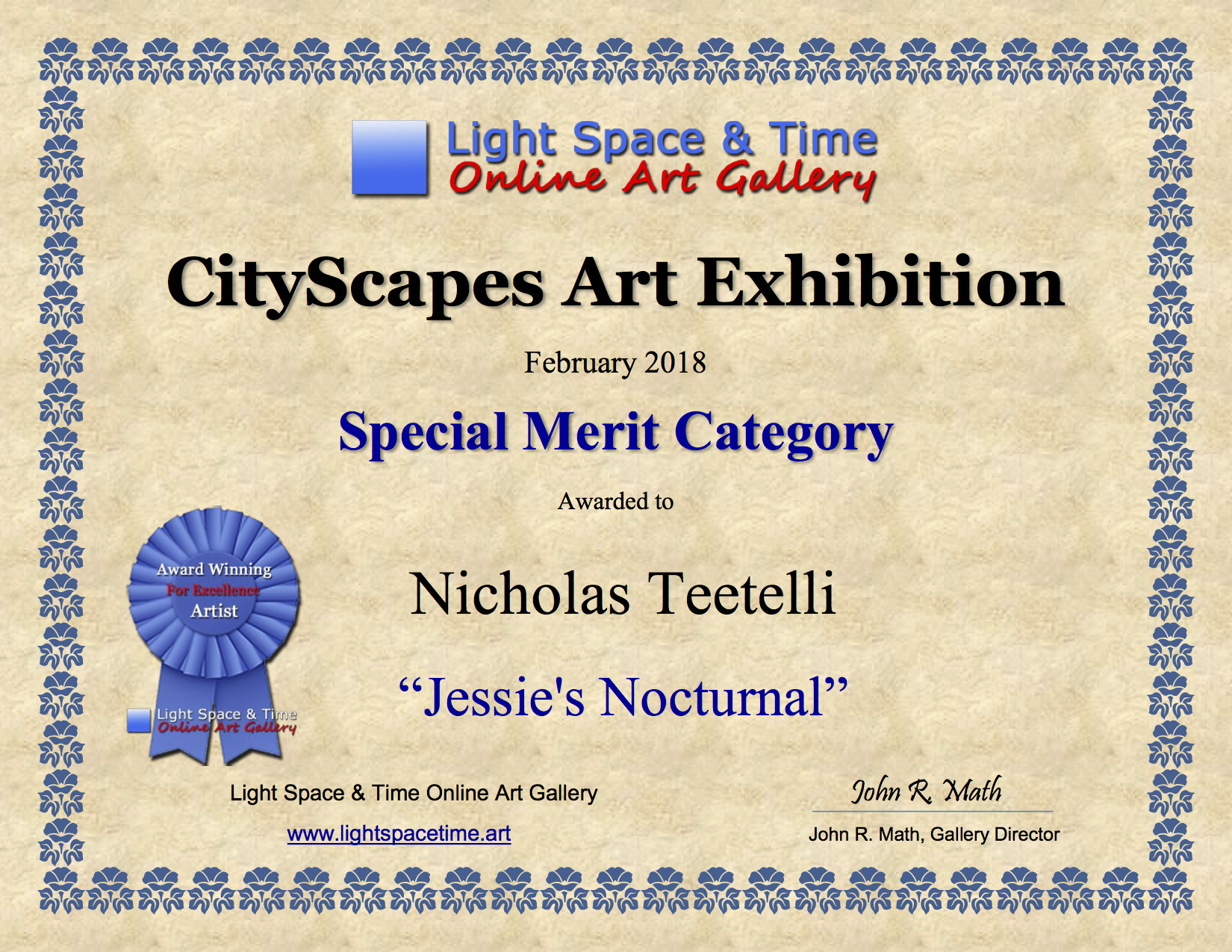 2018-02 LS&T SM - Cityscapes Art Exhibition AWARD Jessies Nocturnal.png