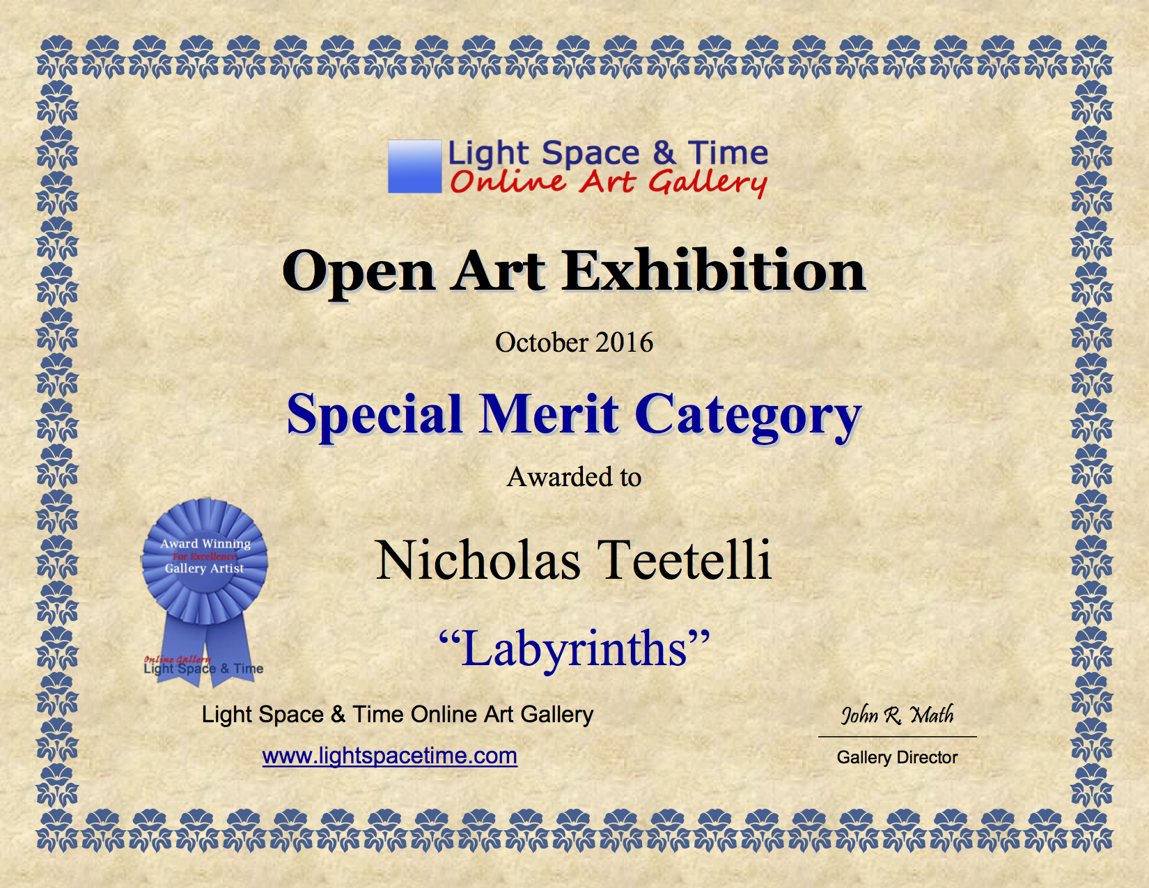 2016-10 LS&T Art Exhibition - Open - Special Recognition - Labyrinths.png