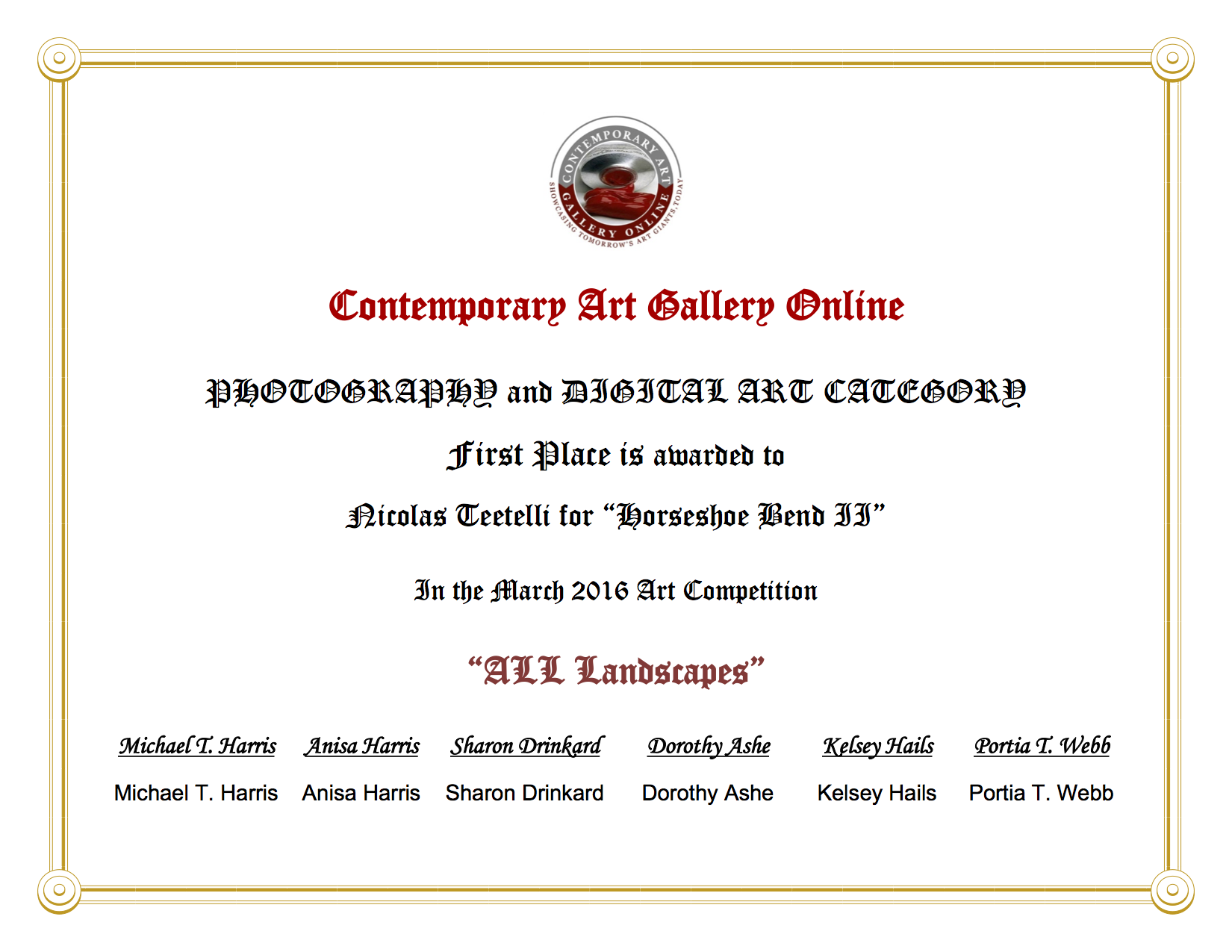 2016-03 Contemporary Art Gallery - Horseshoe Bend II - 1st Place - Teetelli.png
