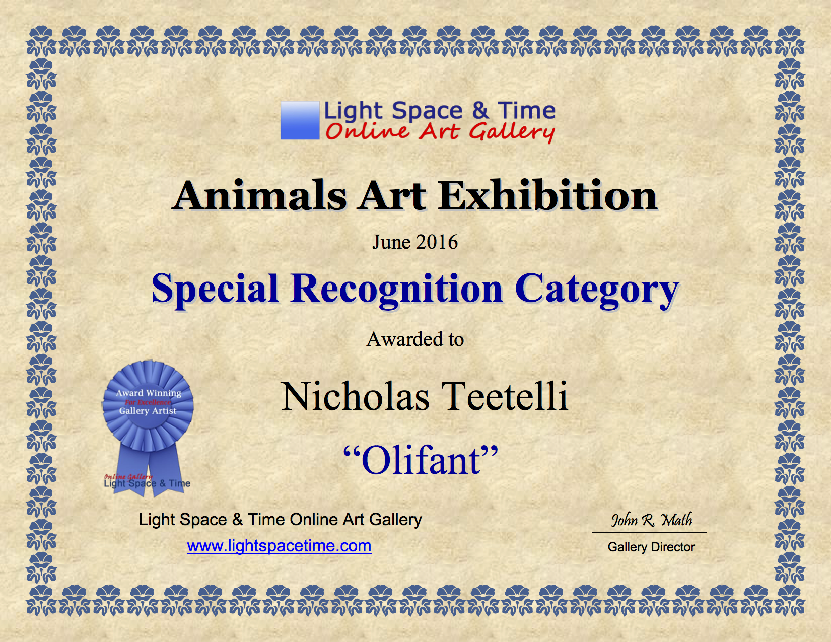 2016-06 LS&T Art Exhibition- Animals - Special Recognition - Olifant.png