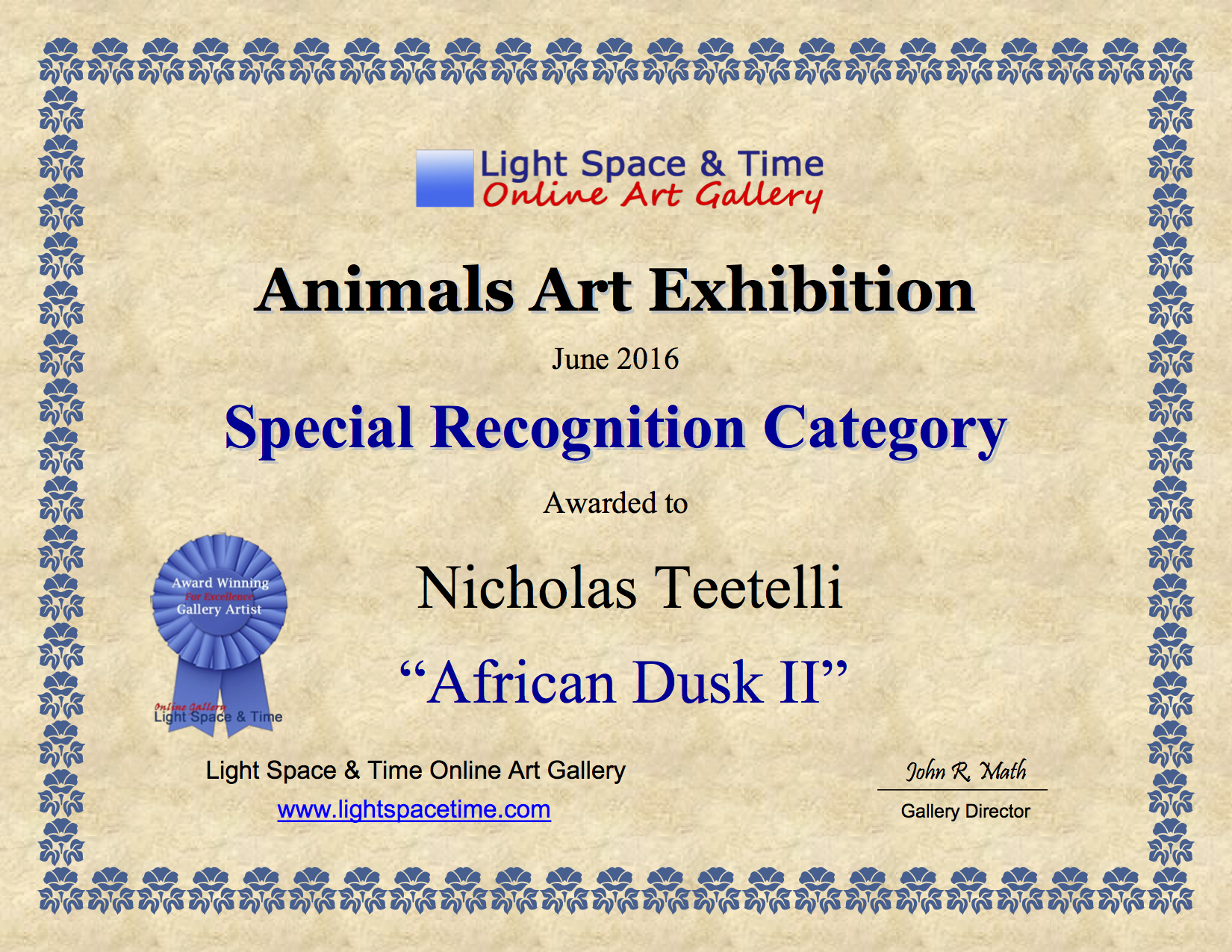 2016-06 LS&T Art Exhibition- Animals - Special Recognition - African Dusk II.png