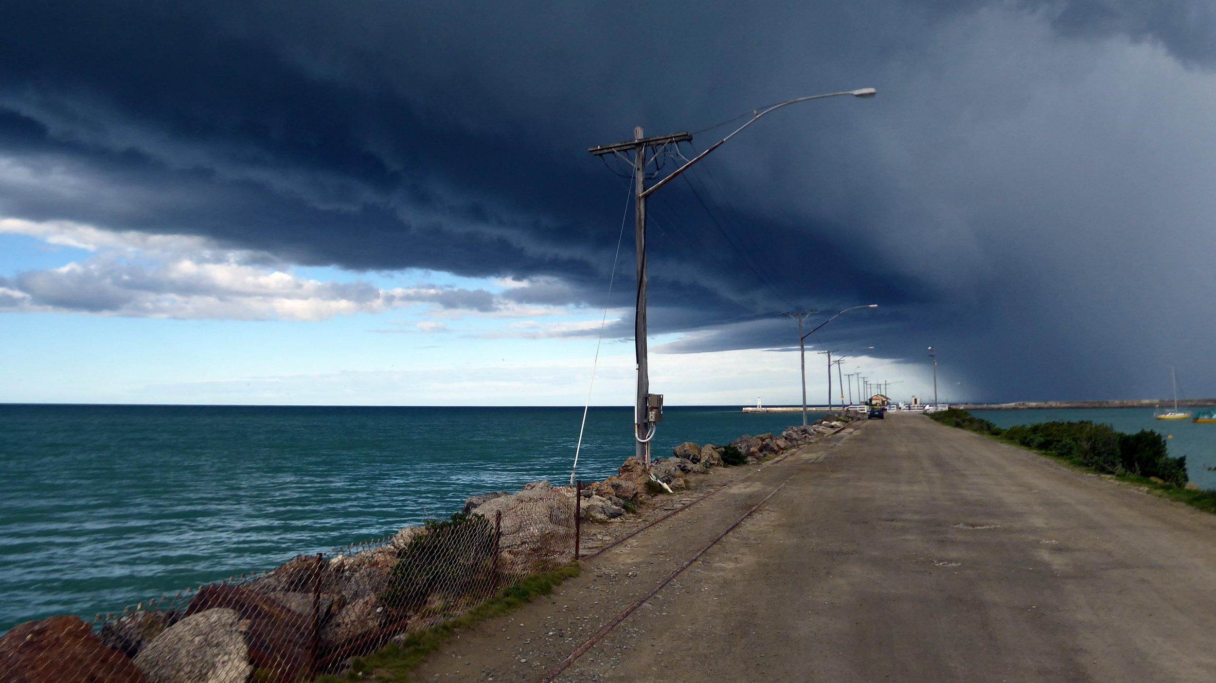 The view along Holmes Wharf. The weather can change very quickly - a real hazard to shipping