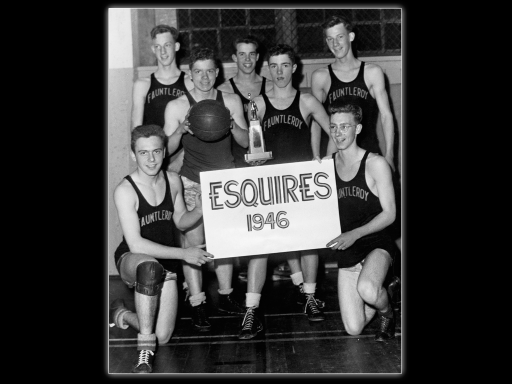 Fauntleroy church basketball team - Lou (back left) and Jim (back right).  Whittaker Family Collection