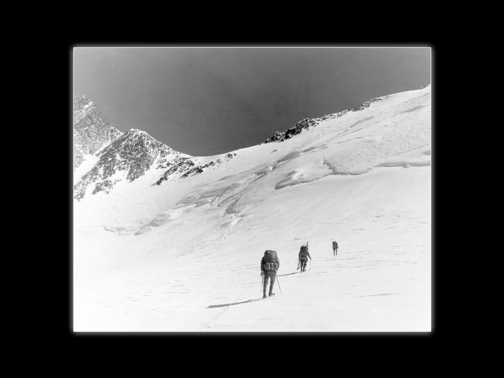 On Mt. McKinley (Denali), 1960. Denali Pass, 18,000 feet in the background.  Whittaker Family Collection