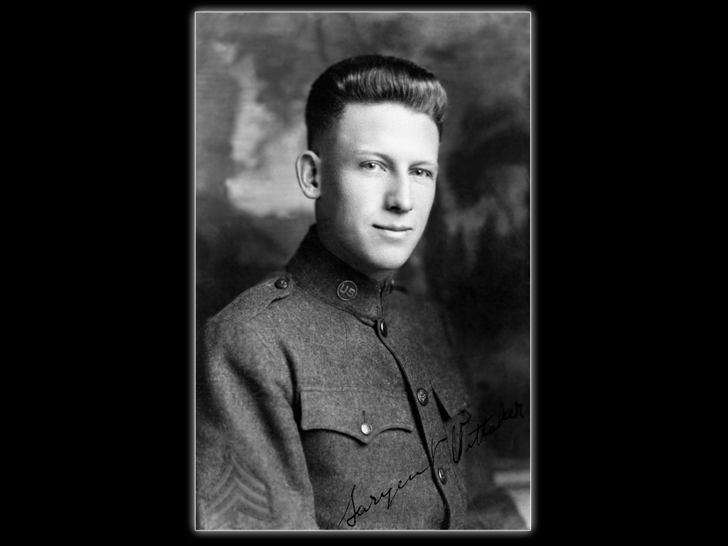 """Jim's father, Charles Bernard """"Cannonball"""" Whittaker, in World War I army uniform, 1918.  Whittaker Family Collection"""