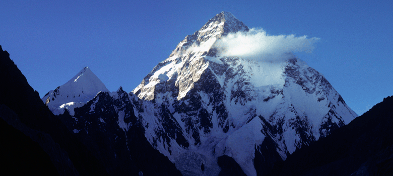 K2—28,252 feet—from Concordia at sunset, 1975.  Dianne Roberts Photo