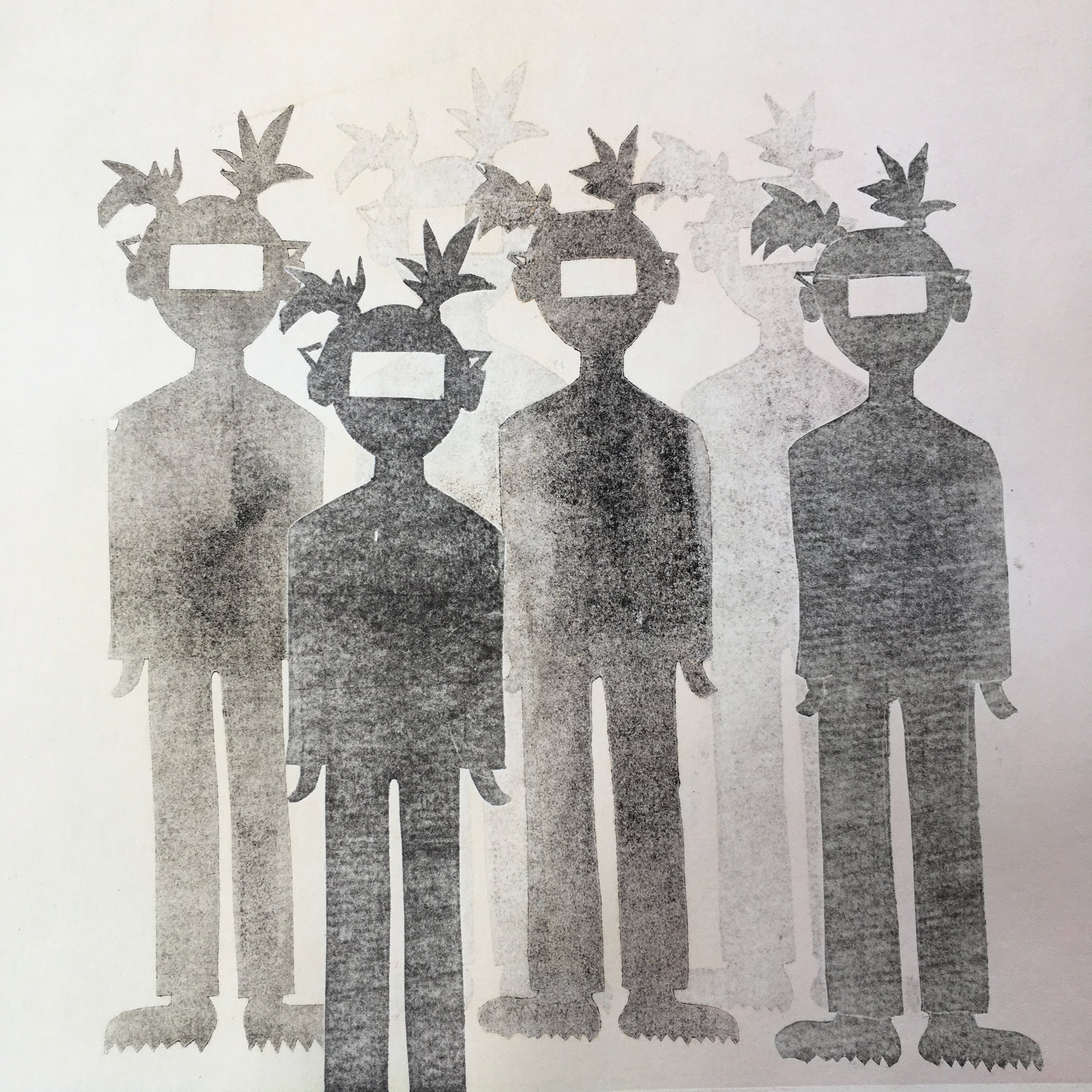 "Umans | Monoprint, 10x10"""
