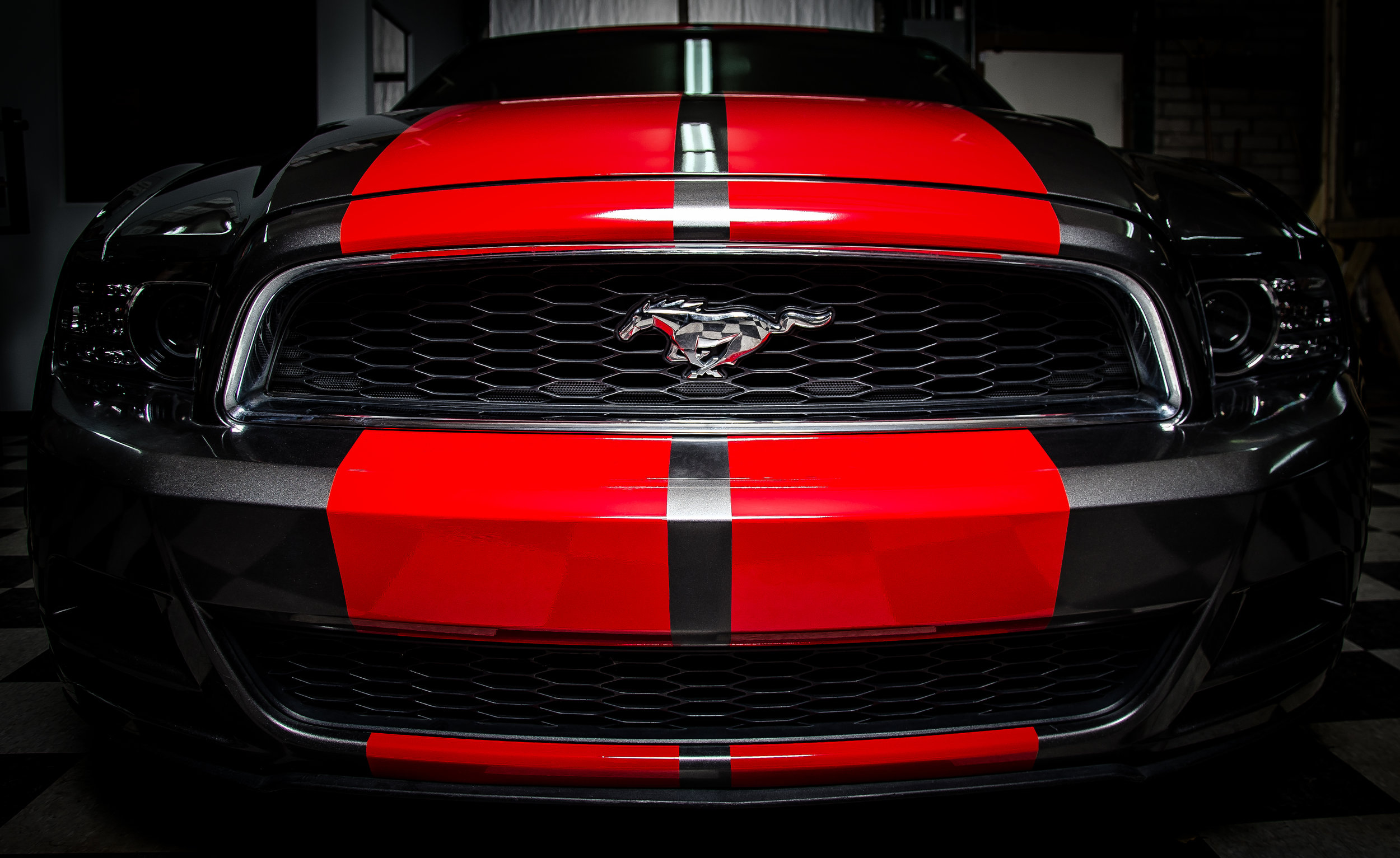 Ford Mustang red racing stripes