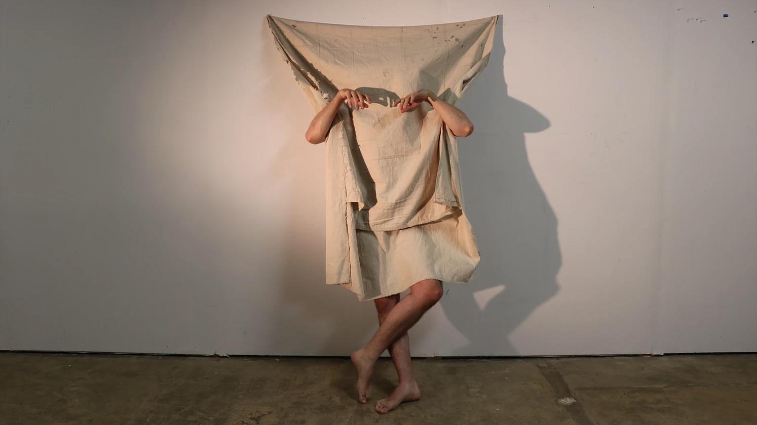 Canvas Dancer, wall-bound canvas performance costume, Peder & Hendrik 2018