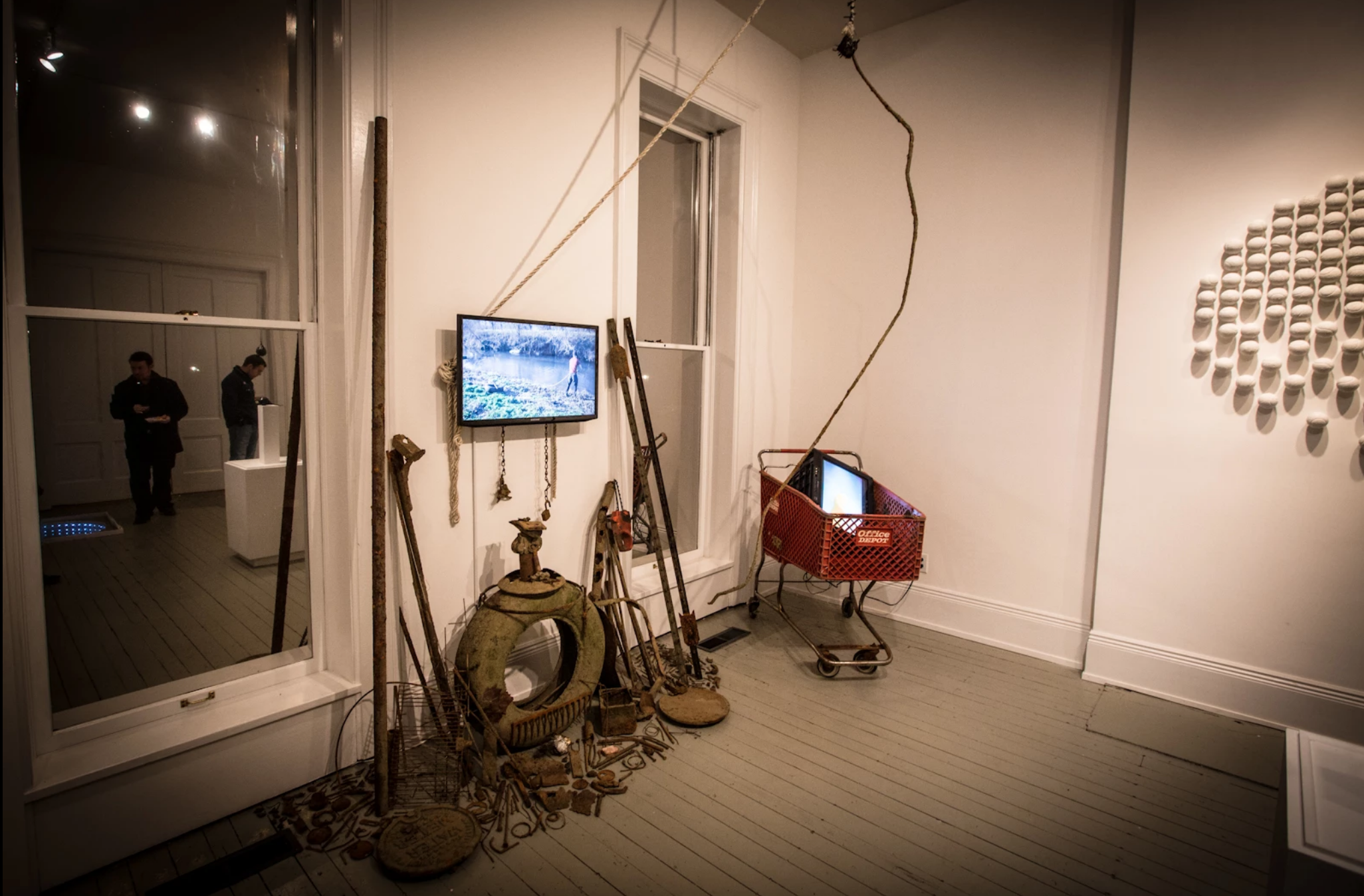 Installation view, two video monitors, at Crane House, Louisville, 2014