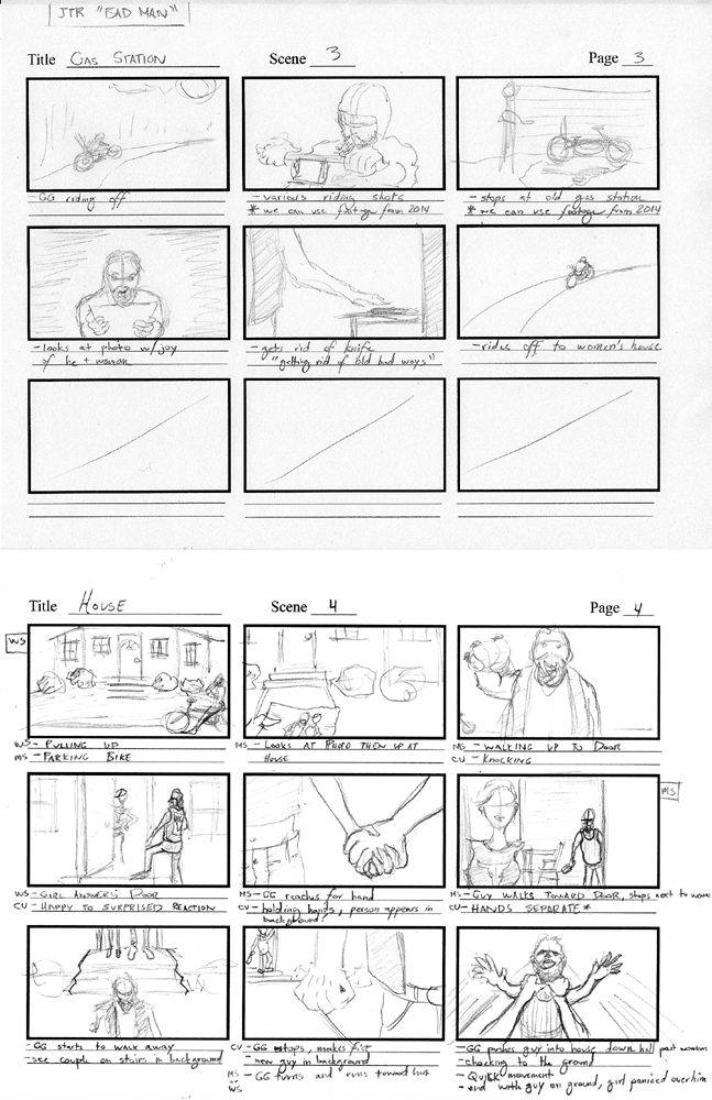 """Storyboards by George Hage for Jack the Radio's """"Bad Man"""" music video."""