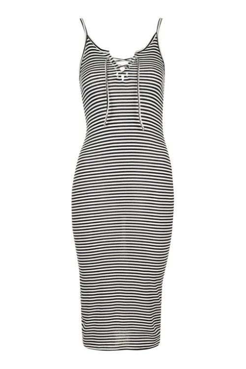 Topshop Striped Midi Dress