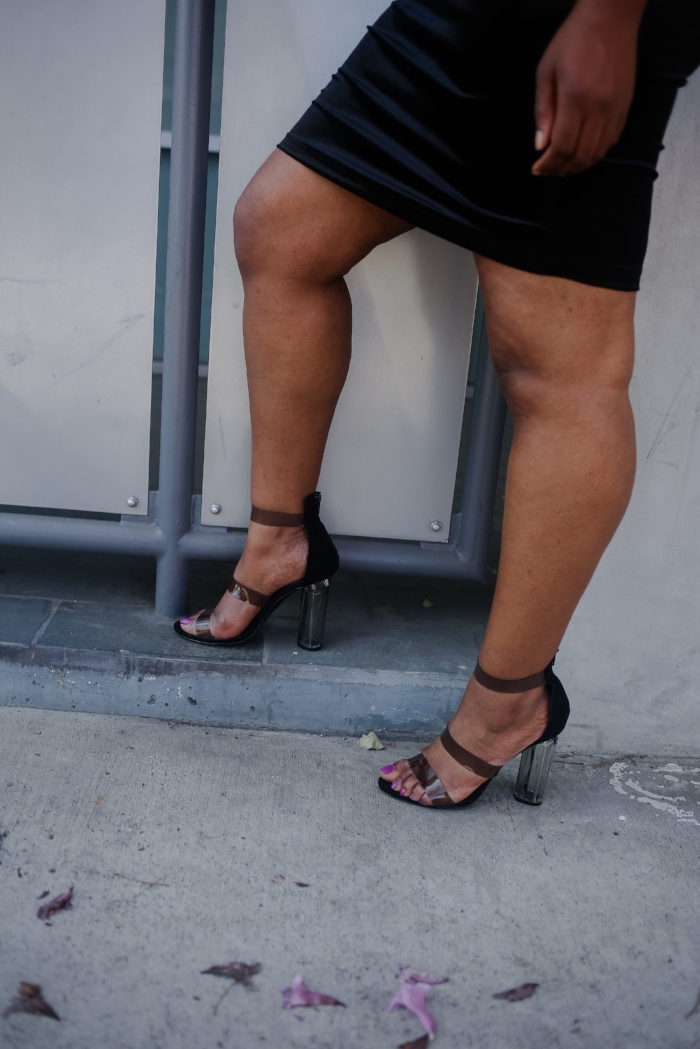 black perspex heels, Lilly's Kloset perspex heels, lucite trend heels