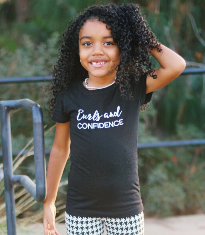 Curls and Confidence tee for girls