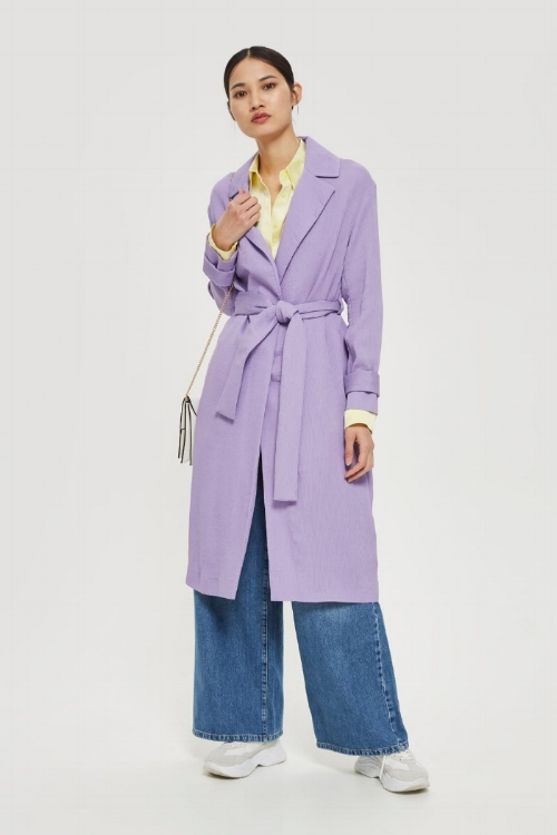 Topshop Plisse Belted Duster Coat