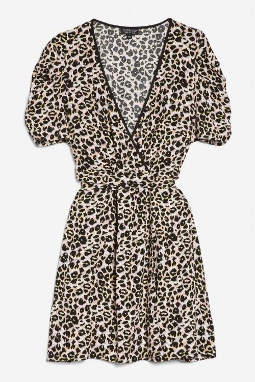 Topshop Leopard Wrap Mini Dress