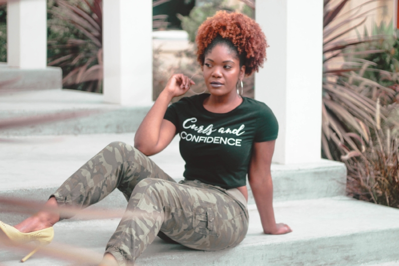 Curls and Confidence Crop Top, natural hair puff