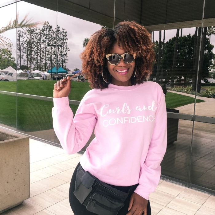 Curls and Confidence Millennial Pink Sweatshirt