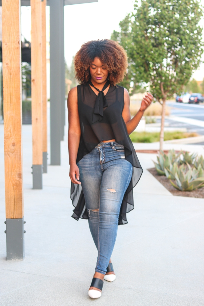 Sheer Top and Jeans