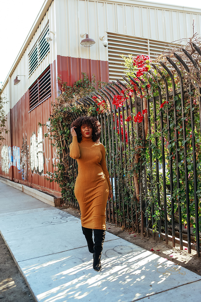 Turtleneck Dress and Boots Outfit