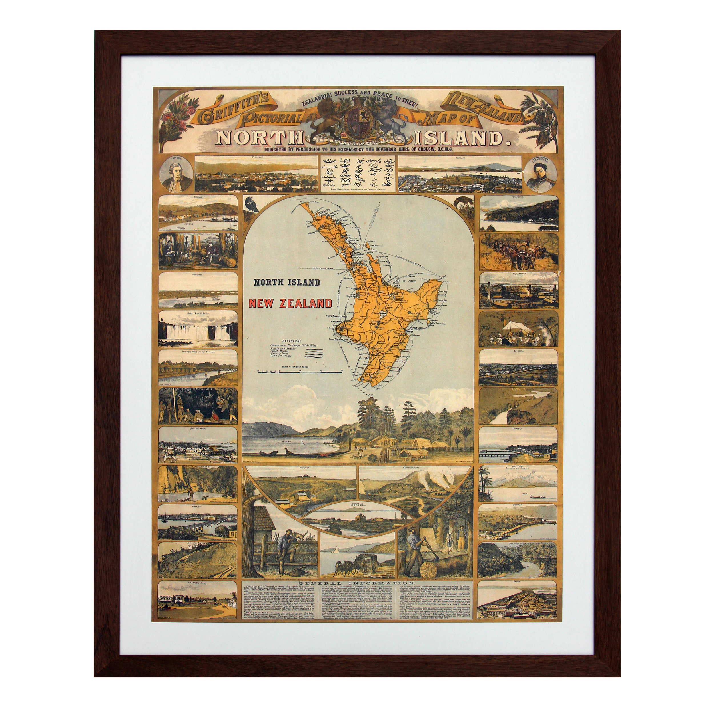 Original 'Griffith's Pictorial Map of New Zealand'