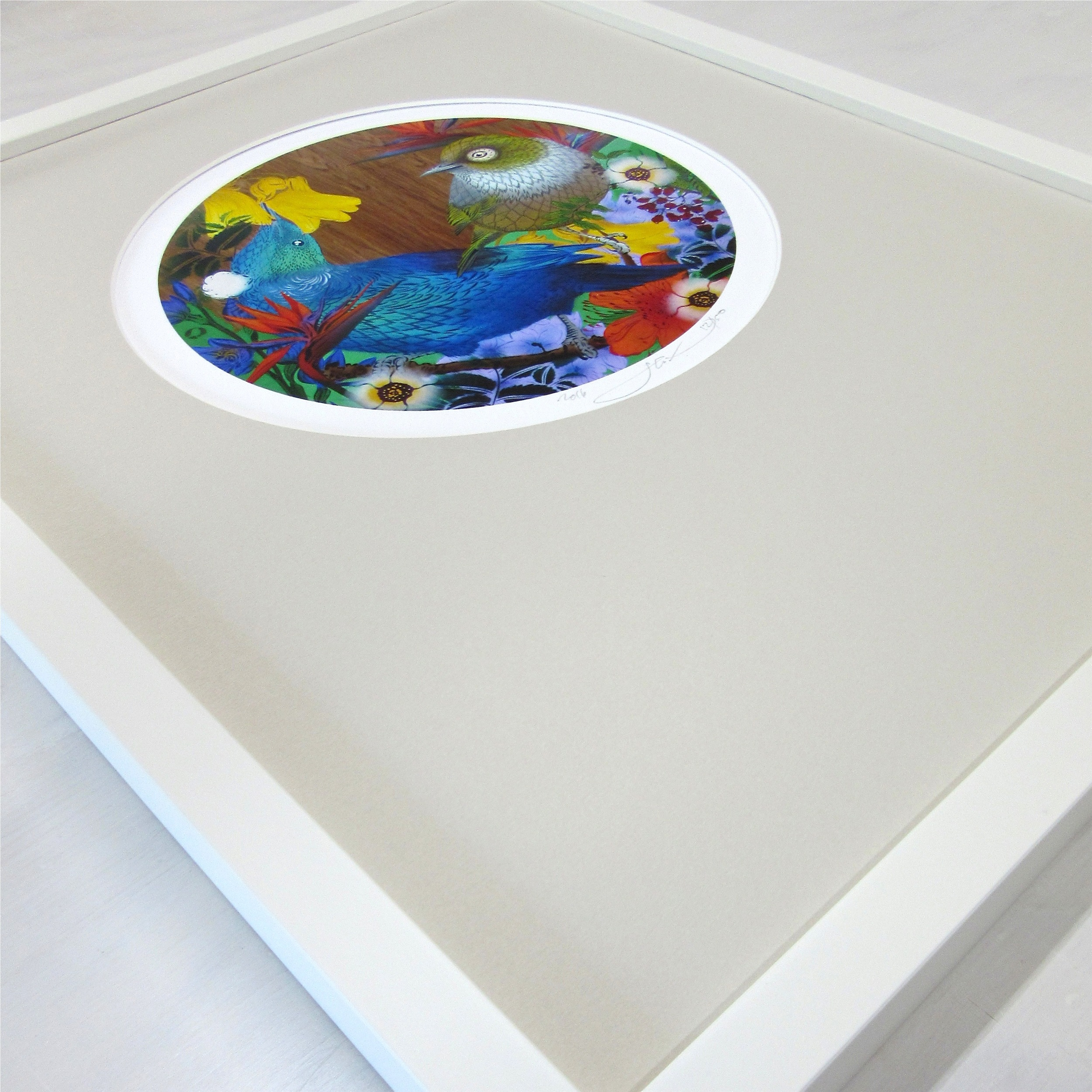 Circular mat for limited edition print by Flox