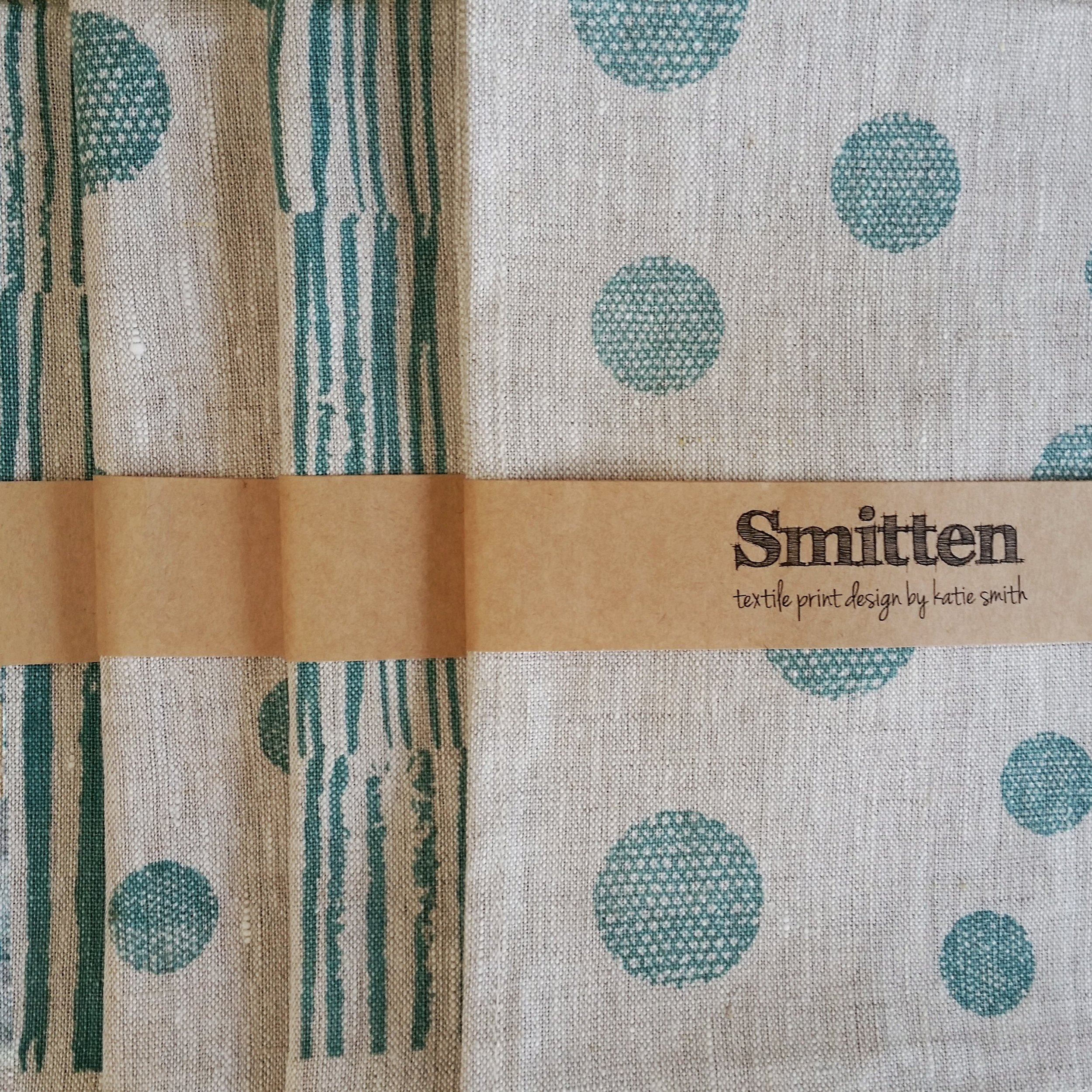 Smitten Design - Hand screen-printed linen tea towels