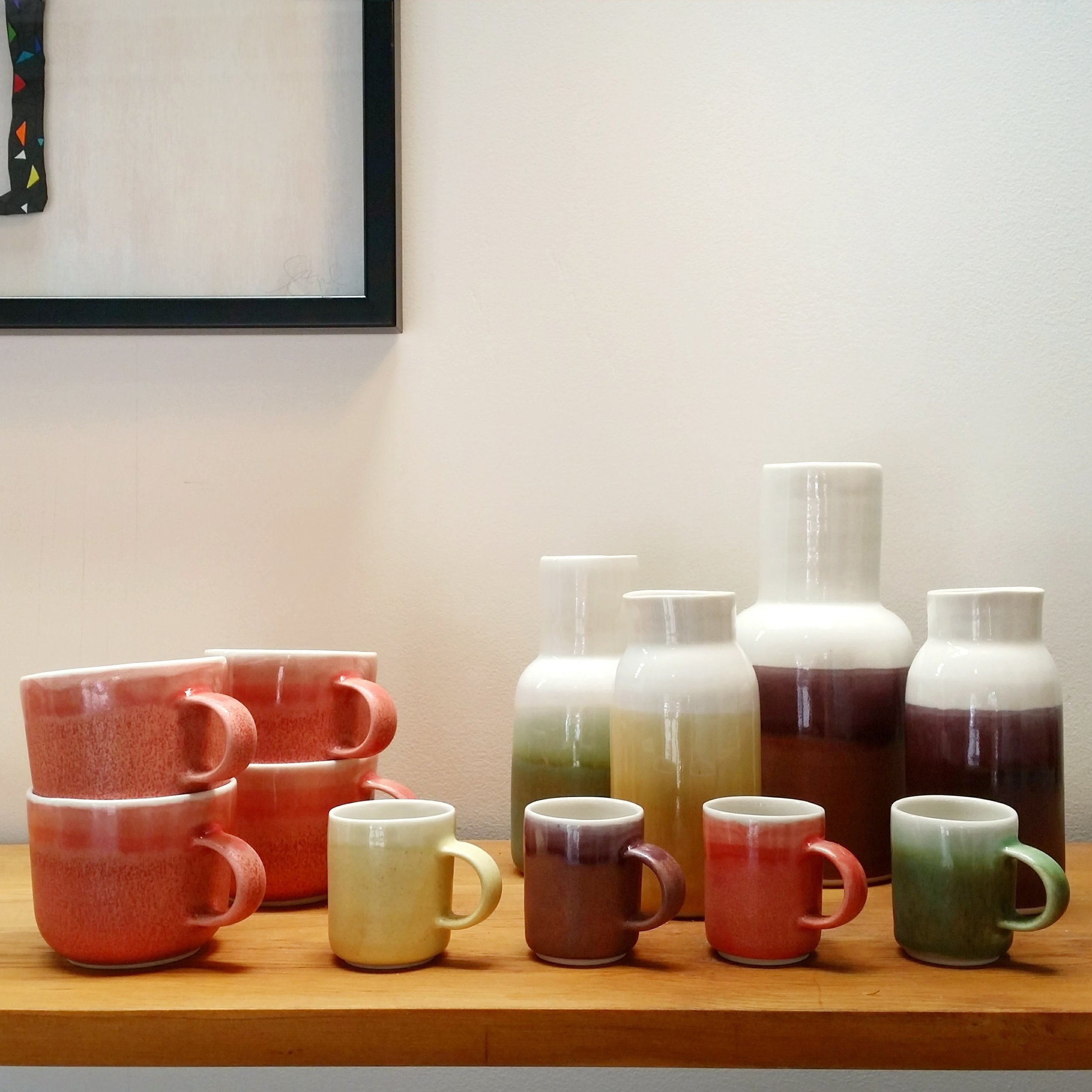 Three Cups of Tea - cups, egg cups and vases