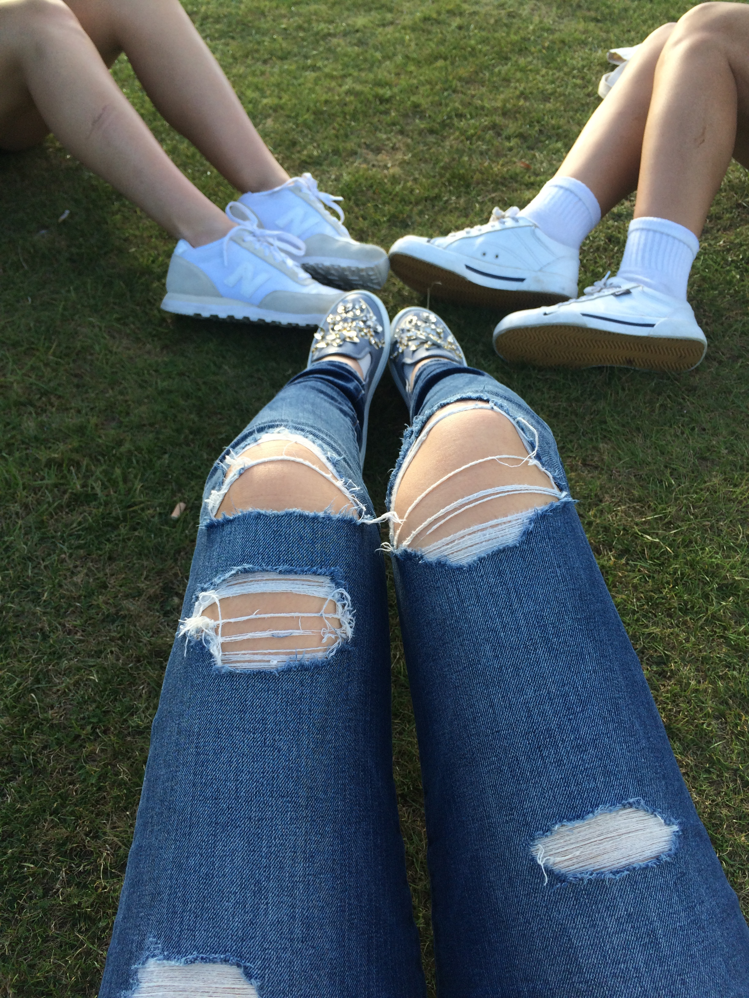 This picture was taken on a gorgeous sunny day at a park with my friends. My jeans are Joe's and my shoes are AGL.