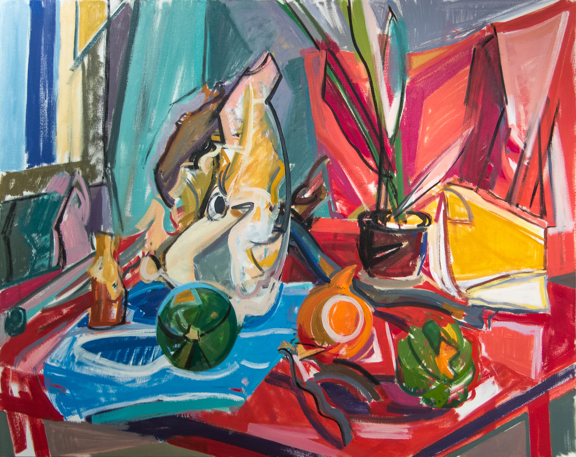 Red Still Life,  oil on canvas