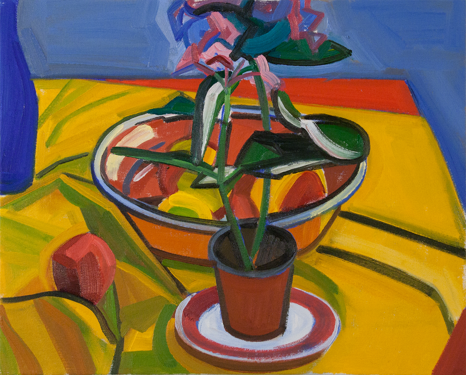 Hydrangea with Bowl and Blue Bottle,  oil on canvas