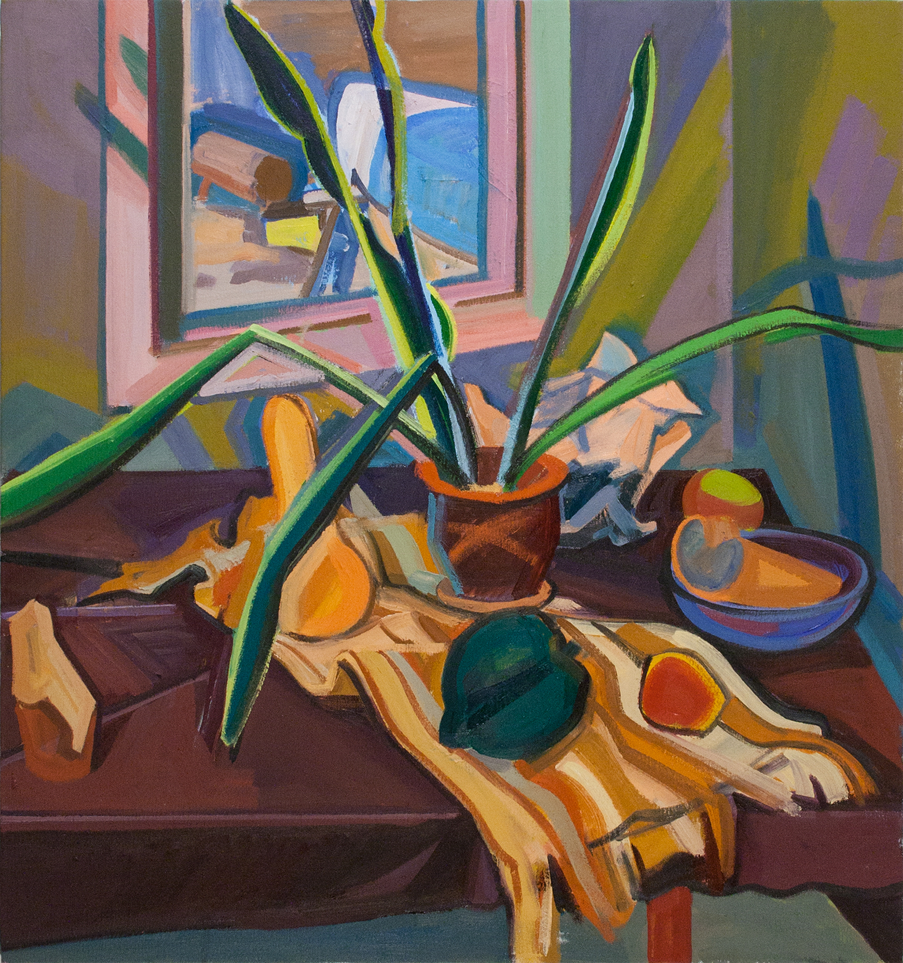 Still Life with Exotic Plants, Gourd and Crumpled Paper,  oil on canvas
