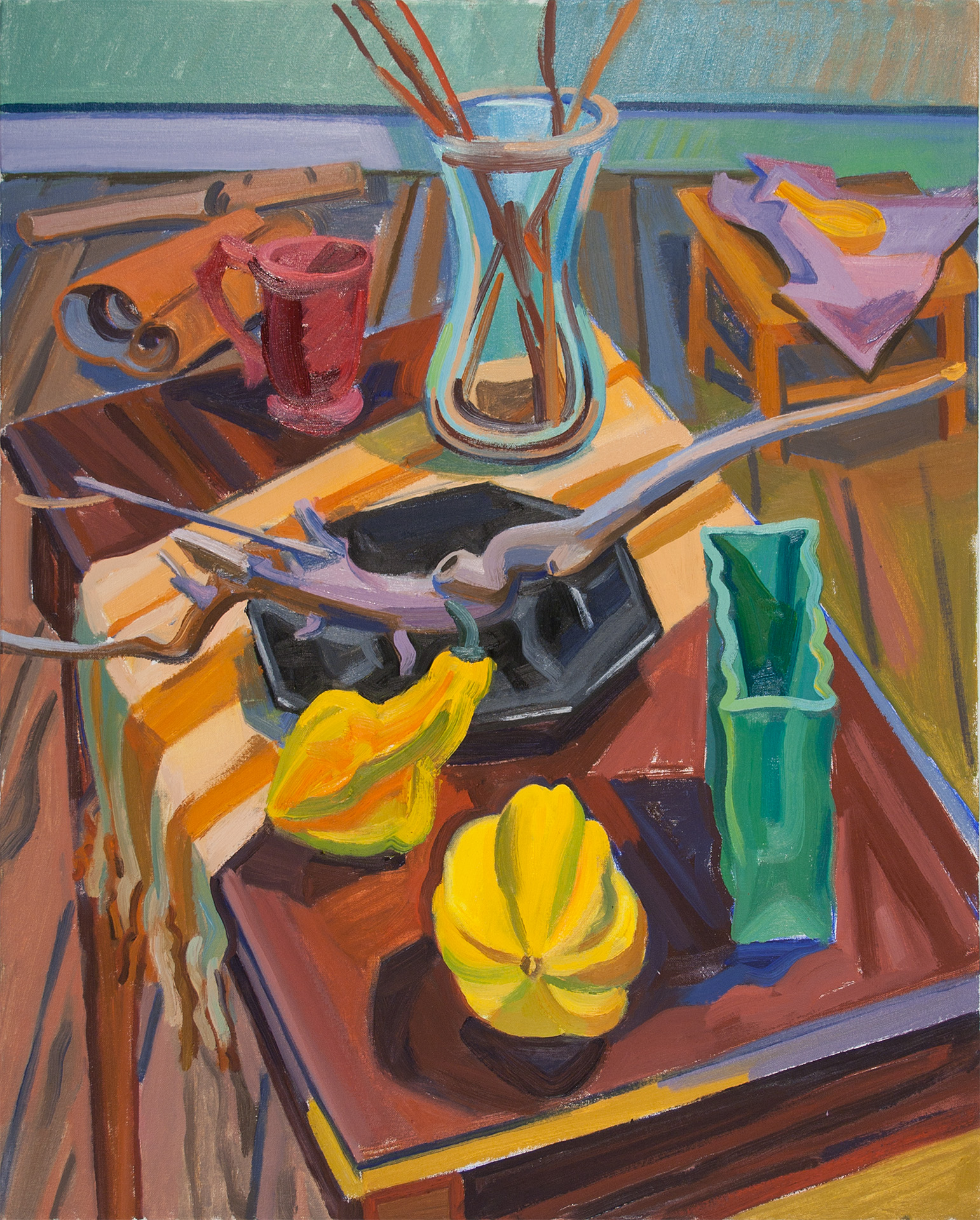 Winter Still Life with Yellow Gourd,  oil on canvas