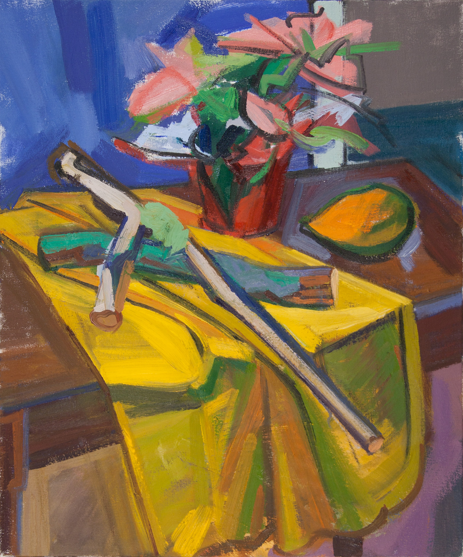 Yellow Cloth with Sticks and Pointsetta