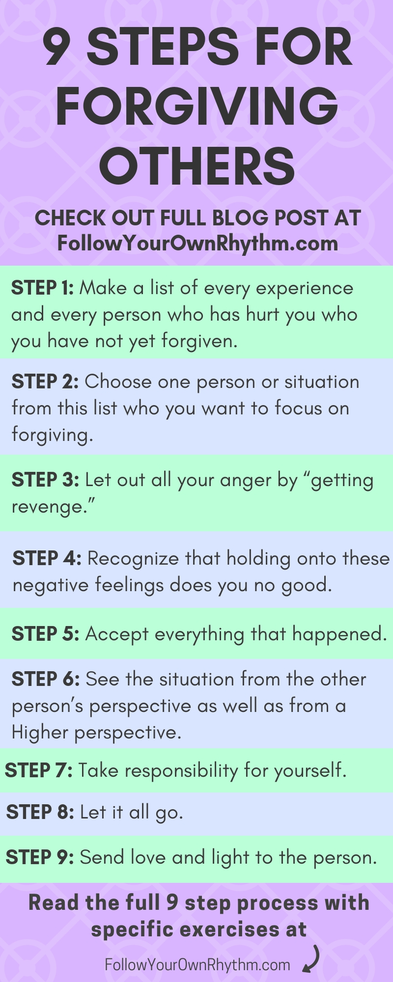 Forgiveness has nothing to do with the person you're forgiving, and everything to do with you. You don't forgive to free the other of what they did, you forgive to FREE YOURSELF.  Forgiveness is about letting go and healing from the past.  Learn the 9 steps that you can take to forgive those who have hurt you so you can release the heaviness that comes from holding a grudge! --personal growth, healing, spirituality, awakening, let go, childhood trauma, emotional pain, freedom, inner peace