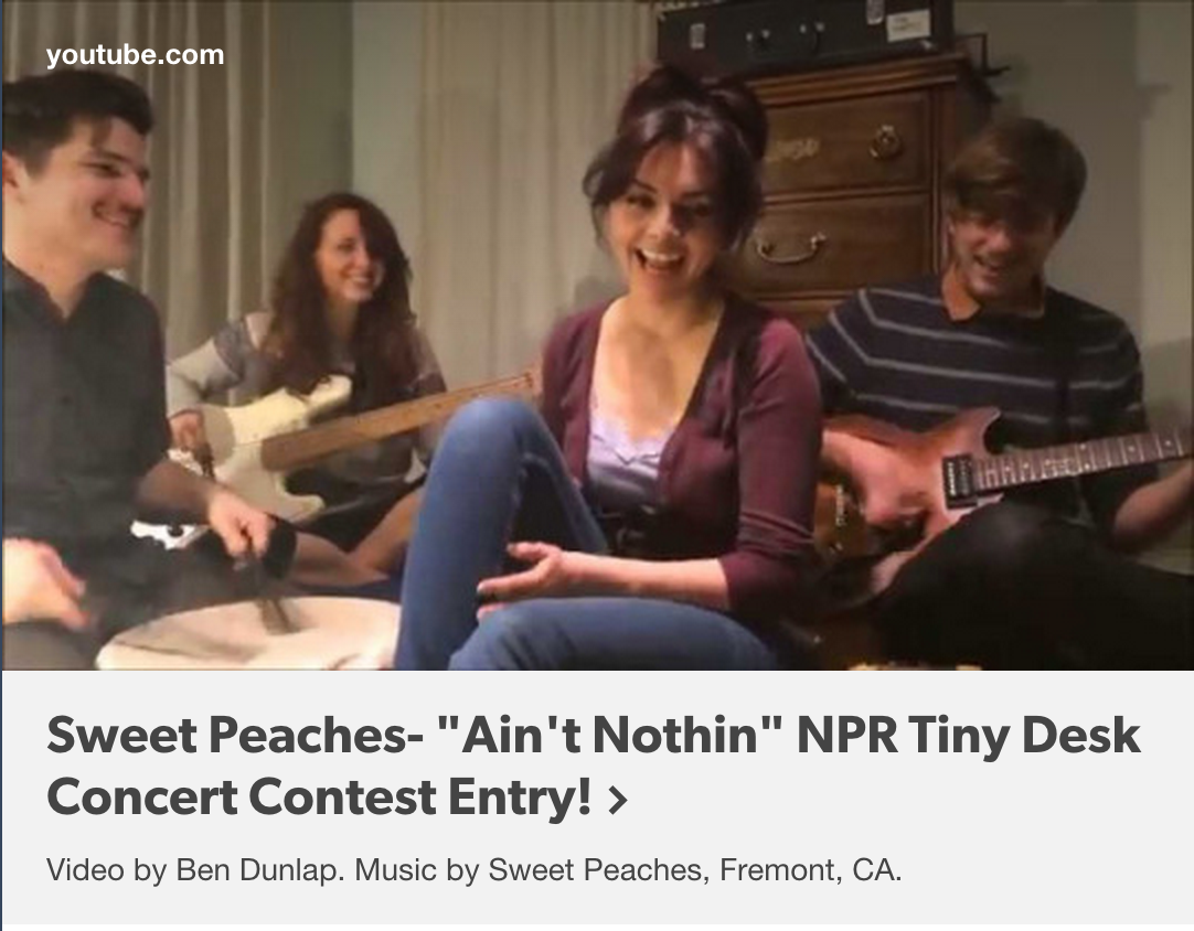 Playing with this wonderful band  Sweet Peaches  tomorrow night for First Friday at  Awaken Cafe . Check them out!  WATCH THE VIDEO HERE:  http://bit.ly/1hYiz5k   Free show | 9pm | all ages | more info here:  http://on.fb.me/1U6uajE