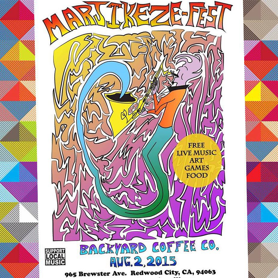 Comin' up quick! This Sunday we play #marjikezefest at @backyardcoffeeco in Redwood City. If you're in the South Bay, come on through! Free live music and art all day - we go on around 5:00pm.