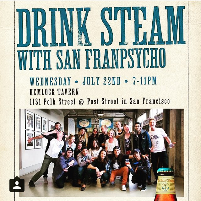 FREE show in San Francisco tonight. We're playing @hemlocktavernsf, presented by @sanfranpsycho and @anchorbrewing with our good friends @babewatchband. Event's at 7, show's at 9, and we're on at 10. Very excited about this one and we hope to see you there!