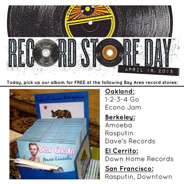 Happy Record Store Day 2015! To celebrate, we've dropped off limited copies of our new album at a few great Bay Area record stores. Pick your favorite, beat the line, and you can get your hands on one for FREE!   Oakland:  1-2-3-4 Go! Records  Econo Jam Records    Berkeley:  Amoeba Berkeley  Rasputin Music  Dave's Record Shop    El Cerrito:  Down Home Records    San Francisco:  Rasputin Music   Aquarius Records