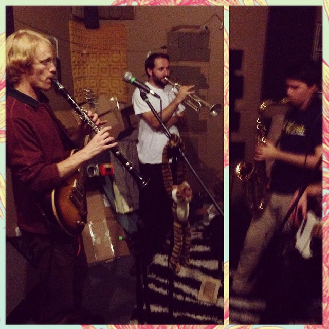 Julian and Matt of the @johnnysoultrain horn section will join us on stage at our record release show at Leo's in Oakland, Saturday 12/13. First practice together was last night, and let me tell you - things got mighty tasty.