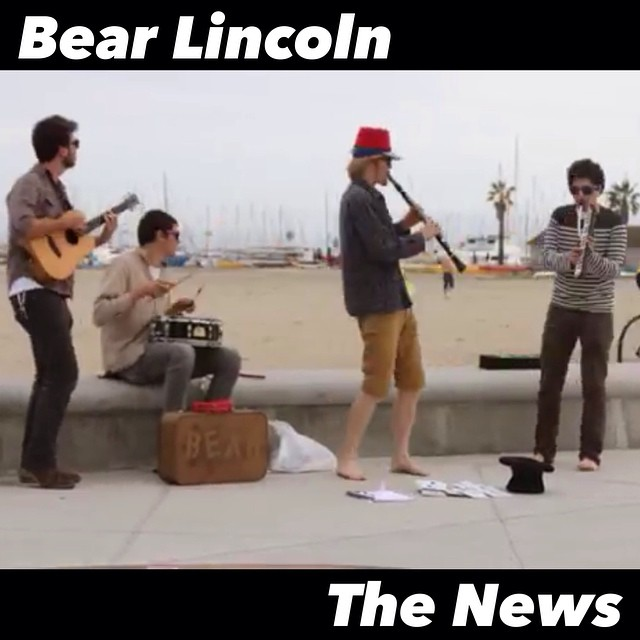 "Our video for ""The News"" is up online now! YouTube.com/BearLincolnMusic - it features scenes from our recent Southern California tour. Watch it and please pass it around, thanks a bunch everyone!"
